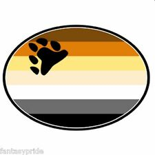 Gay Pride Bear paw print brown Auto or Truck Magnet Euro Design
