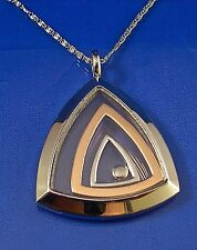 """STAINLESS STEEL SILVER & ROSE GOLD TONE FLOATING TRIANGLE PENDANT, 20"""" CHAIN"""