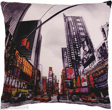 FUNKY NOVEL TIMES SQUARE NEW YORK AMERICAN RED BLACK CUSHION COVER 17""