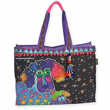 Laurel Burch Poodle Pup Dog OVERSIZED Tote Bag Multi on Black NEW 2017