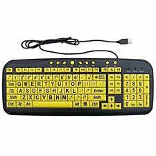 Ezsee Low Vision Wired Keyboard Large Print Yellow Keys USB