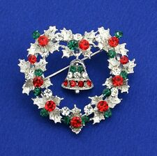 W Swarovski Crystal Christmas Wreath Bell Heart Shape Multi Color Brooch Pin