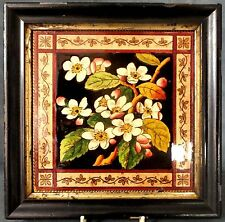 RARE EARLY FRAMED T.A. SIMPSON HAND PAINTED? AESTHETIC TILE - PRUNIS