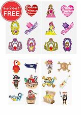 48 Childrens Pirate & Princess Temporary Tattoos Loot Party Bag Filler Kids