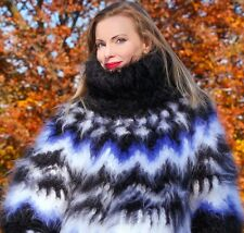 SUPERTANYA THICK Hand Knitted Mohair Sweater Icelandic Black Blue Jumper ON SALE