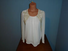 New Womens Size Large L Liang Ying Ivory Top Shirt Career Elegant Sheer Lined @@