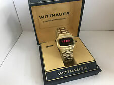Longines Wittnauer Polara RED LED Quartz LCD  14K Gold Plated  Vintage Watch