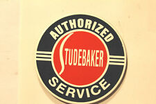 ODD STUDEBAKER PORCELAIN METAL SIGN IN EXCELLENT COND. MINI. SIZE 2-1/4''  ROUND