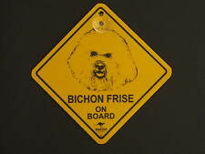 Bichon Frise On Board Dog Breed Yellow Car Swing Sign Gift
