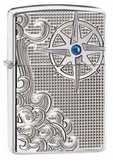 Zippo 28809, Armor, Nautical Waves,  HP Chrome Lighter,***6 Flints/Wick***