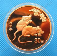 2008 Year of the Rat China Lunar Zodiac .999 Copper Round 40mm