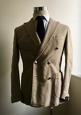 NEW $1155 Boglioli COAT 36R/46R Tan Double-Breasted Peak Lapel Sport Coat