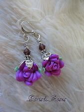 ROSE Earrings ~Small Clay flowers VIOLET PURPLE Crystal top silver plated dangle