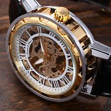KS Gold Stainless Steel White Automatic Skeleton Romans Men's Mechanical Watch