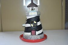 """Ceramic Lighthouse Black & White Striped Tealight Candle Holder 6"""" Tall LH-77"""