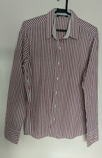 Mishumo Mens Smart Casual Shirt White with Red and Black Stripes VGC Size 17""
