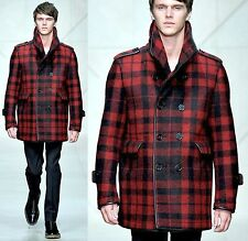 $3,195 Burberry Prorsum 40 50 Leather Trim Nova Check Pea Coat Winter Jacket Men