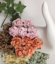 25 Soft 4 Colors Paper Flower Scrap Booking Wedding Card Crafts Rose ZR21-595