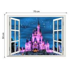 Princess Castle 3D Window view Wall Stickers  Mural Vinyl Decals Room Decor Hot'