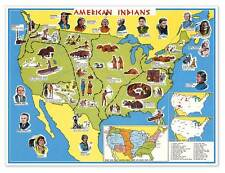 "Native American Indian Educational USA Wall Map circa 1950 - 24"" x 32"" Poster"