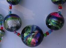Art Deco Bohemian Rainbow Foil Glass Bead Necklace