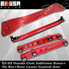 92-95 Honda Civic 93-97del Sol Rear Lower Control Arm+Tie Bar+Subframe Bar RED