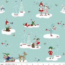 Riley Blake Pixie Noel Christmas Fabric. Main in Aqua. by the FQ