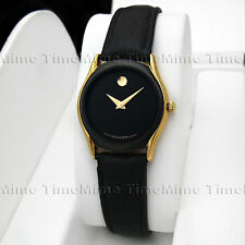 Women's Movado MUSEUM PVD Gold Trim Case Black Dial Leather Swiss Quartz Watch