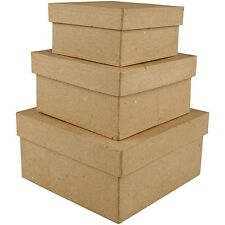 Set of 3 Paper Mache Nesting Square Boxes