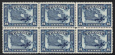 60th Anniversary 12c Map of Canada 6-Block, Scott 145, VF MNH, catalogue - $480