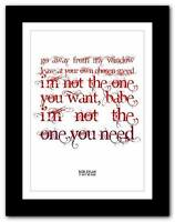 ❤  Bob Dylan- It Ain't Me  song lyric typography poster art print A1 A2 A3 or A4