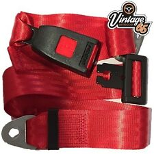 Vintage Warehouse Classic Red Front Rear Static 2 point Seat Lap Safety Belt