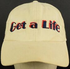 Get a Life Offwhite Baseball Hat Cap with Plastic Snapback Adjustable Strap
