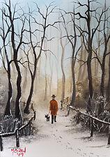"""Mal.. Burton pintura al óleo artística original """"el corte corto -- NIEVE INVIERNO"""""""