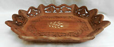 Vintage Style Indian Hand Carved Inlaid Wooden Tray / Fruit Bowl - BNWT (A)