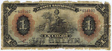 EL SALVADOR BANCO SALVADORENO 1 COLON 1931 Pick # Spec. 221c LOW GRADE but RARE