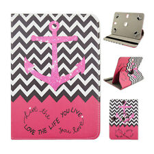 "Fits Archos 101 XS 2 10.1"" inch Tablet Pink Chevron Anchor Love Case Cover"