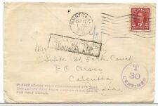 Scarce Empire Air Mail Scheme EAMS 6c half oz airmail rate to INDIA DUE Canada