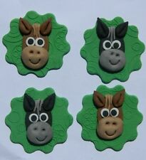 12 edible HORSE HEAD FACES cake CUPCAKE TOPPER decoration MELBOURNE CUP racing