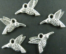 100pcs Silver Color 2Sides Bird Charms Jewelry DIY 18x12x3mm 12015