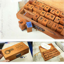 New 30pc Retro Alphabet Capital Letter Rubber Stamps Set with Vintage Wooden Box