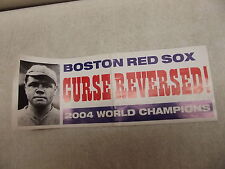 VINTAGE RED SOX CURSE REVERSED 2004 WORLD CHAMPS BUMPER STICKER BABE RUTH