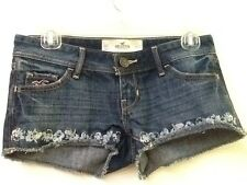 HOLLISTER by Abercrombie Womens Lowrise Denim Floral Embroidery Shorts 00 W 23
