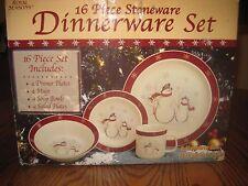 16 PC ROYAL SEASONS SNOWMEN STONEWARE DINNERWARE SET