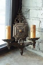 Beaux Arts antique painted iron early 20th century double candle wall sconce