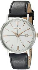 Bulova Men's White Dial Black Leather Strap Watch - 98B254. New In Box. 041