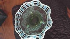 Rare Fenton Green Opalescent Three Row Open Edge Basketweave Three Footed Bowl
