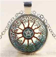Celtic Tree Pentagram Cabochon Glass Tibet Silver Chain Pendant Necklace