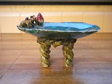Unusual Vintage Pottery Majolica Frog Lilly Pad Pedestal Plate ~Nice~