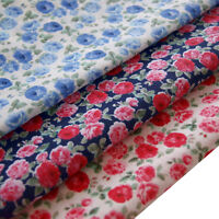 Floral Polycotton Fabric Material Metre Vintage Craft White Pink Blue Navy